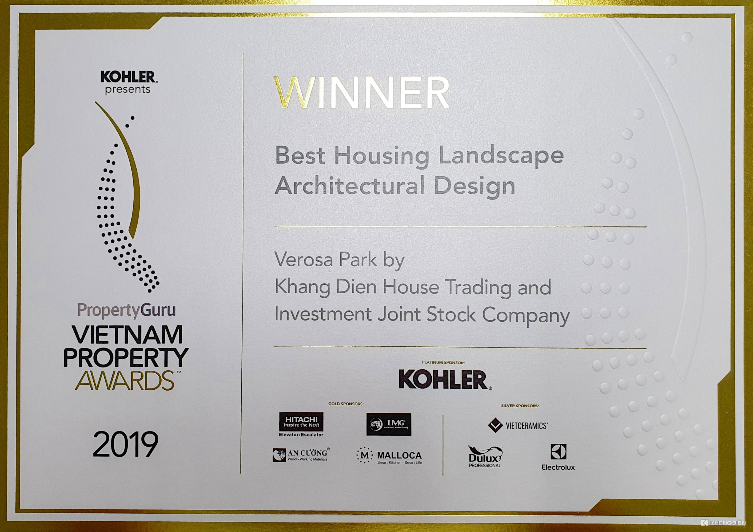 BEST HOUSING LANDSCAPE ARCHITECTURAL DESIGN - VIETNAM PROPERTY AWARDS 2019