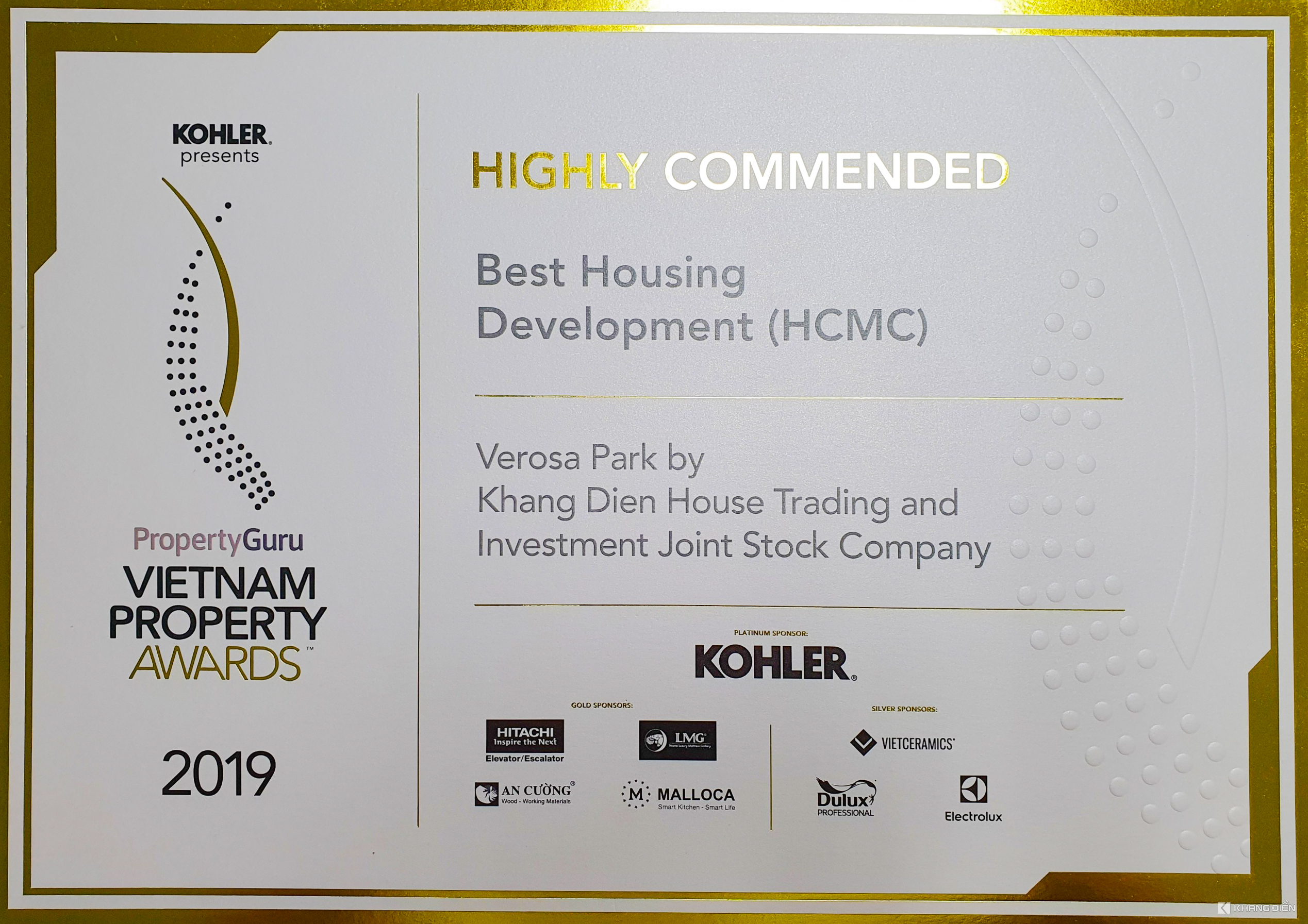 HIGH RECOMMEND BEST HOUSING DEVELOPMENT (HCMC) - VIETNAM PROPERTY AWARDS 2019